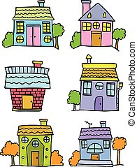 Doodle of house set colorful cartoon