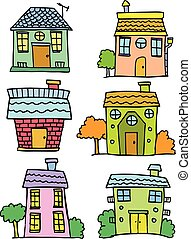Doodle of house set colorful hand draw