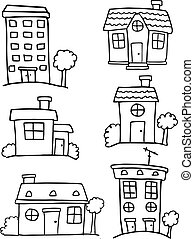 Doodle of house set various hand draw