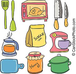 Doodle of kitchen colorful set