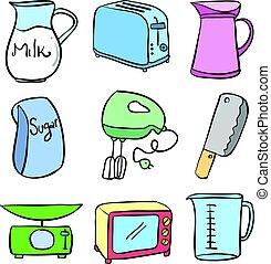 Doodle of kitchen equipment vector illustration