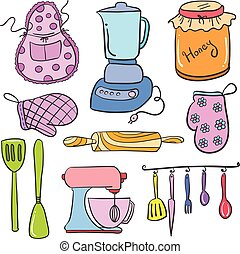 Doodle of kitchen set accessories collection