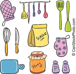 Doodle of kitchen set colorful