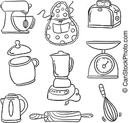 Doodle of kitchen set hand draw