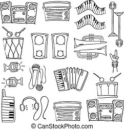 Doodle of many tools stock collection