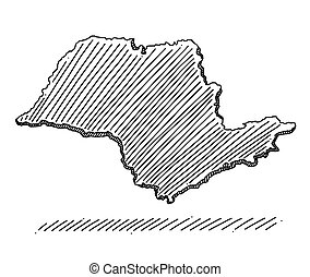 Doodle of map of the state of S?o Paulo, Brazil