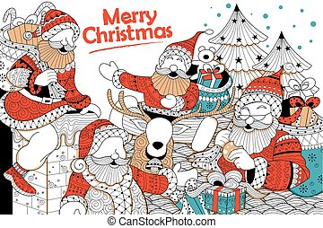 Doodle of Merry Christmas Holiday with Santa Claus -...