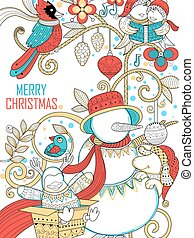 Doodle of Merry Christmas Holiday with Snowman