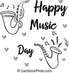 Doodle of music day hand draw