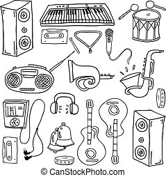 Doodle of music element hand draw