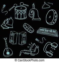 Doodle of music element set