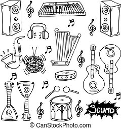 Doodle of music hand draw stock collection
