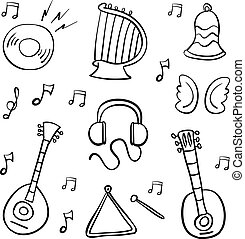 Doodle of music object hand draw