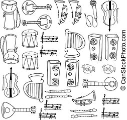 Doodle of music set hand draw