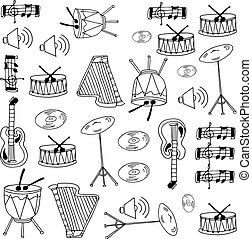 Doodle of music set with hand draw