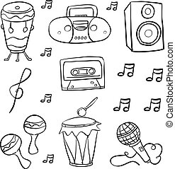 Doodle of music style hand draw