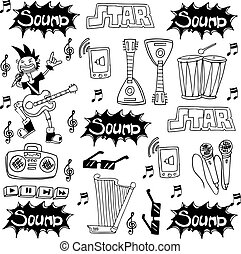 Doodle of music tools collection stock