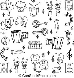 Doodle of music tools stock collection