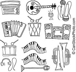 Doodle of music tools theme