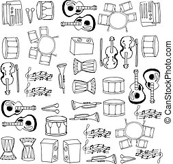 Doodle of musical tools collection