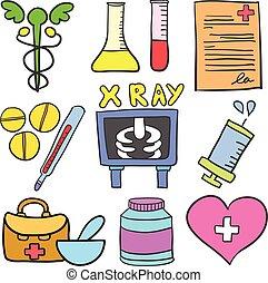 Doodle of object medical set