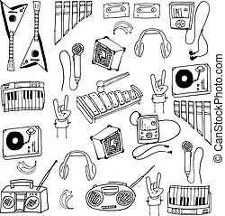 Doodle of object music set