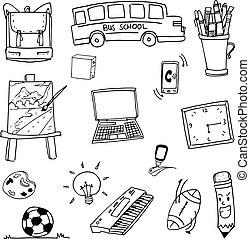 Doodle of object school bus laptop ball