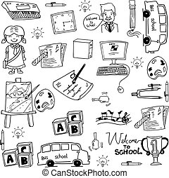 Doodle of object school education