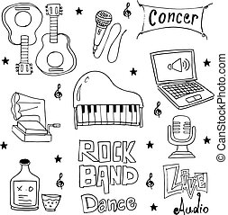 Doodle of object set music