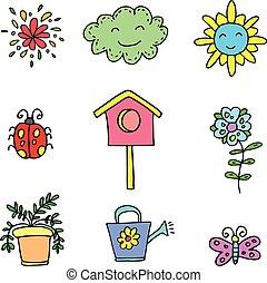Doodle of object spring set