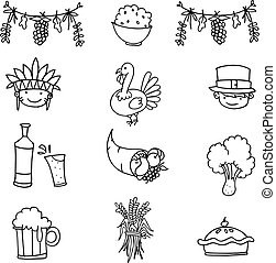 Doodle of object thanksgiving set