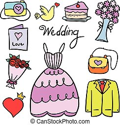 Doodle of object wedding party