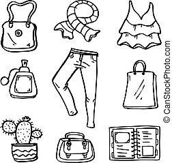 Doodle of object women clothes set