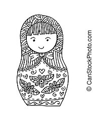 Doodle of Russian doll Matrioshka Babushka