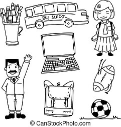 Doodle of school element bus bag ball