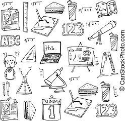 Doodle of school supplies on laptop paper
