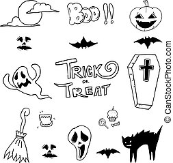 Doodle of set halloween collection