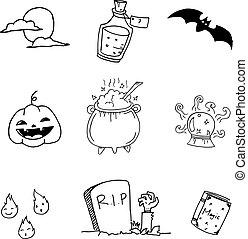 Doodle of set halloween hand draw