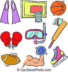 Doodle of sport equipment colorful hand draw