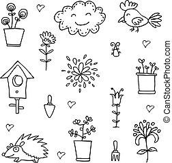 Doodle of spring cloud flower set