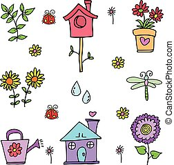 Doodle of spring colorful set