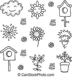 Doodle of spring flower cloud