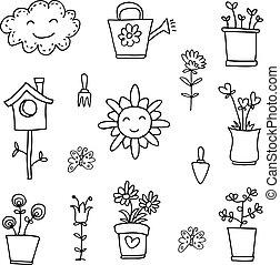 Doodle of spring flower set hand draw