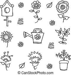 Doodle of spring flower set