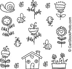 Doodle of spring item insect flower