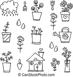 Doodle of spring object set