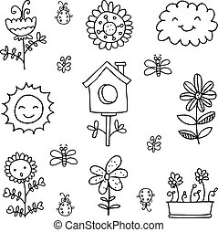 Doodle of spring set black white