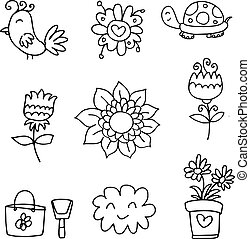 Doodle of spring set flower cloud