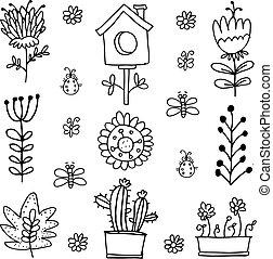 Doodle of spring set flower