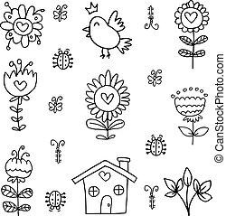 Doodle of spring set item